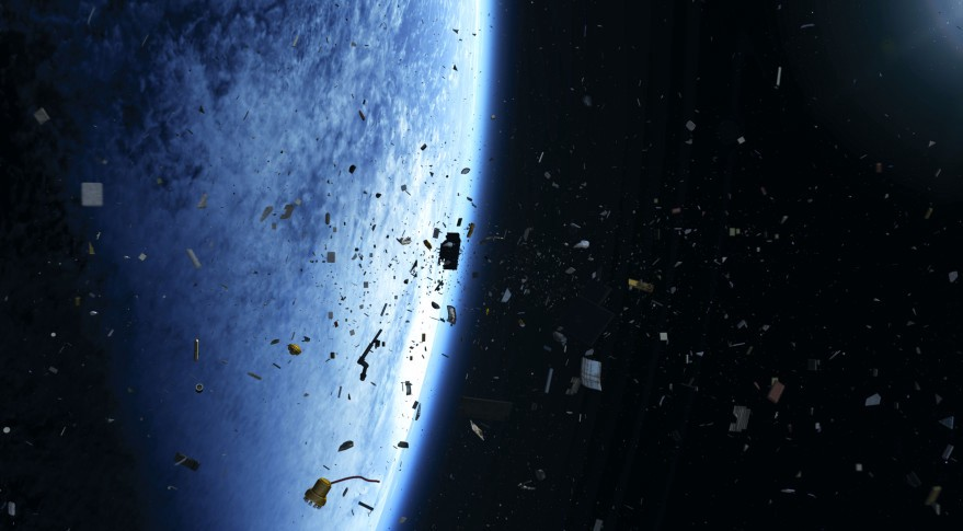 An artist's rendering of space debris in orbit. Credit: European Space Agency.