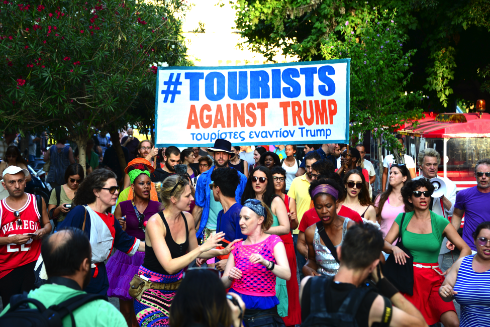 tourists against trump athens