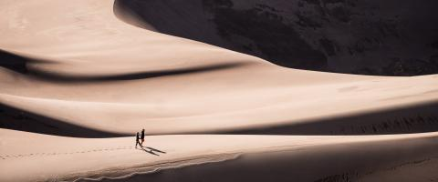 Two People Walking Through the Desert
