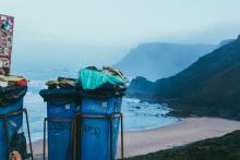 Recycle Bins on a Beach